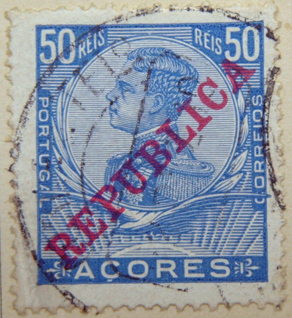 1910 king emanuel ii blau blue bleu 50 reis portugal correios acores azures