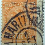 1918 1919 libertas inscription brazil correio orange 300 reis