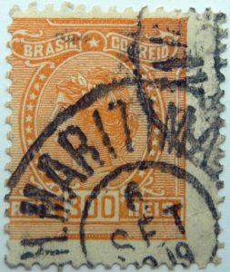 1918 1919 libertas inscription brazil correio orange 300 reis