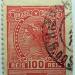 1918 1919 libertas inscription brazil correio red 100 reis