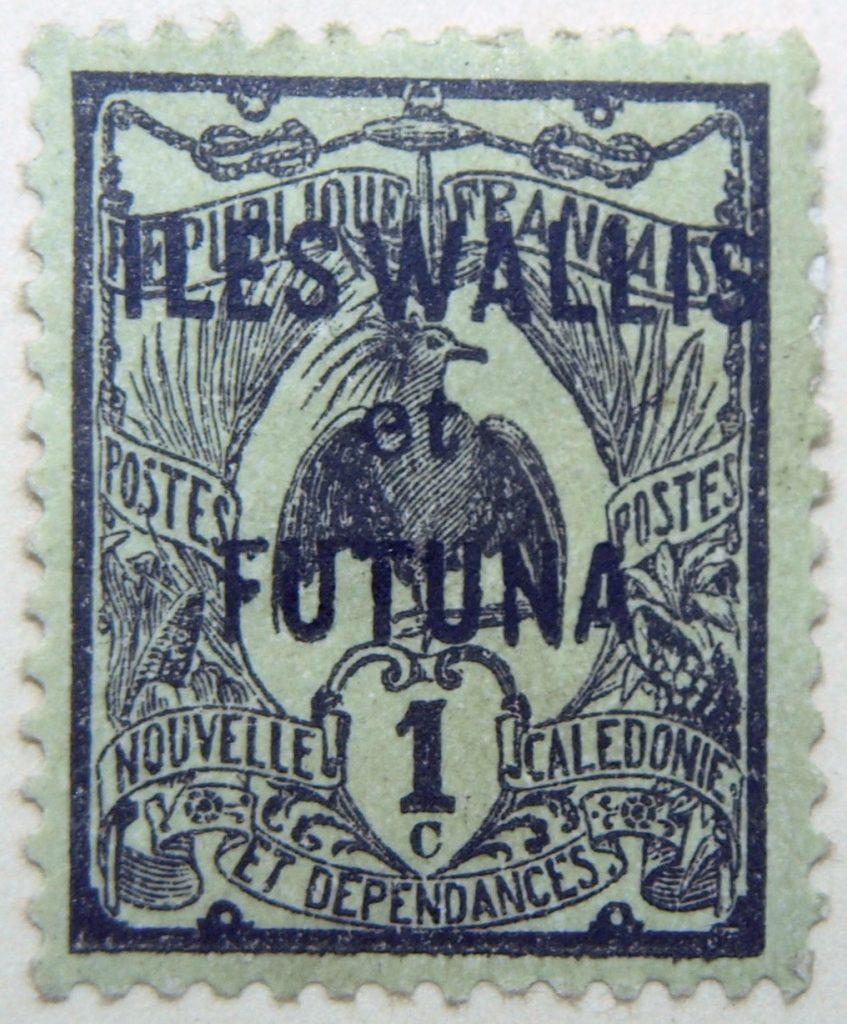 1920 new caledonia postage stamp overprinted iles wallis et futuna black 1c republique francaise postes nouvelle caledonie et dependances. black