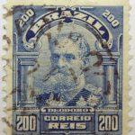 200 correio reis brazil manuel deodoro de fonseca blue stamp 1906