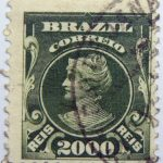 2000 correio reis brazil stamp 1906 1917 yellow green