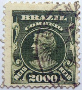 2000 correio reis brazil stamp 1906 1917 yellow green