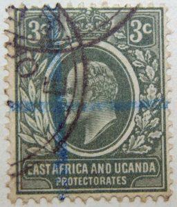 3 cents british east africa and uganda protectorates 1907 king eduard vii grun green vert stamp