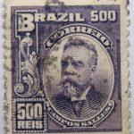 500 correio reis brazil manuel ferraz de campos salles stamp 1906 dark violet