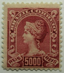5000 correio reis brazil liberty head stamp 1906 carmine rose