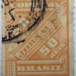 brazil newspaper stamp 1889 1890 correio 50 reis jornaes brownish orange