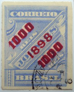 brazil newspaper stamp 1898 overprinted correio 1000r on 700r rouletted red surcharge ultramarin