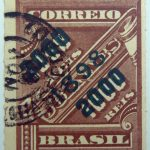 brazil newspaper stamp 1898 overprinted correio 2000r on 1000r rouletted black surcharge brown