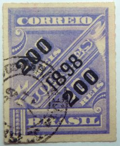 brazil newspaper stamp 1898 overprinted correio 200r on 100r rouletted black surcharge violet
