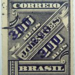 brazil newspaper stamp 1898 overprinted correio 300r on 200r rouletted violet surcharge