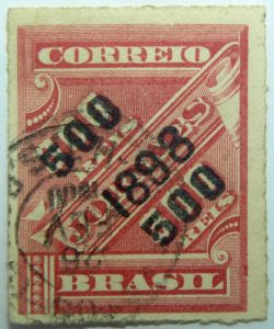 brazil newspaper stamp 1898 overprinted correio 500r on 300r rouletted black surcharge