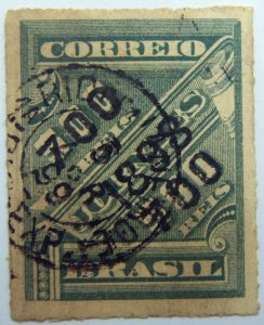 brazil newspaper stamp 1898 overprinted correio 700r on 500r rouletted black surcharge green