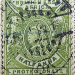 british east africa postage revenue half anna protectorate gelbgrun yellow green vert 1896