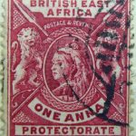 british east africa postage revenue one anna protectorate karmin carmin 1896