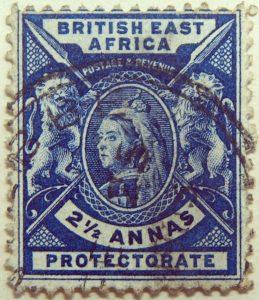 british east africa postage revenue two half anna protectorate dunkelblau blue bleu 1896