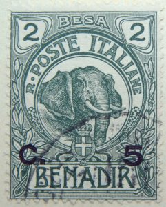 italian somaliland 1903 overprinted 1906 1916 2 besa r. poste italiane benadir c. 5 elephant green