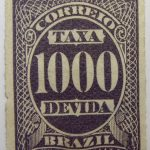 postage due stamp brazil 1890 rouletted performation correio taxa devida 1000 r blackish purple