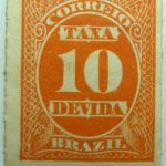 postage due stamp brazil 1890 rouletted performation correio taxa devida 10r reddish orange