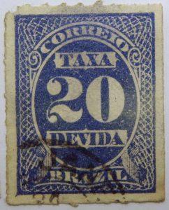postage due stamp brazil 1890 rouletted performation correio taxa devida 20 reis violet blue