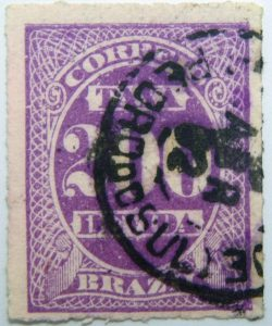 postage due stamp brazil 1890 rouletted performation correio taxa devida 200 r purple