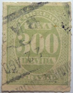 postage due stamp brazil 1890 rouletted performation correio taxa devida 300 bluish green