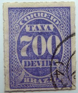 postage due stamp brazil 1890 rouletted performation correio taxa devida 700 violet