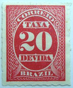 postage due stamp brazil 1890 rouletted performation correio taxa devida carmine 20