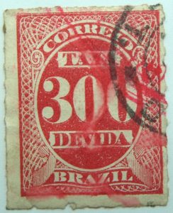 postage due stamp brazil 1890 rouletted performation correio taxa devida carmine 300