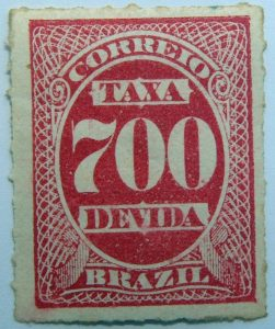 postage due stamp brazil 1890 rouletted performation correio taxa devida carmine 700