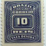 postage due stamp brazil 1906 1910 correio taxa devida 10 reis slate blue