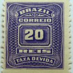postage due stamp brazil 1906 1910 correio taxa devida 20 reis violet