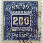 postage due stamp brazil 1906 1910 correio taxa devida 200 reis dark blue