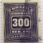 postage due stamp brazil 1906 1910 correio taxa devida 300 reis brownish black
