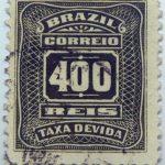 postage due stamp brazil 1906 1910 correio taxa devida 400 reis olive