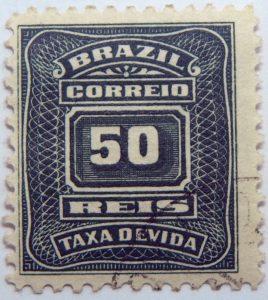 postage due stamp brazil 1906 1910 correio taxa devida 50 reis green