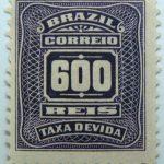 postage due stamp brazil 1906 1910 correio taxa devida 600 reis violet