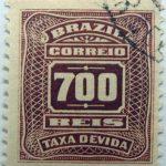 postage due stamp brazil 1906 1910 correio taxa devida 700 reis brown