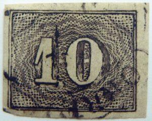 brazil stamp 10r black 1850 jan 1 used black