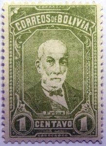 correos de bolivia 1 centavo olive frias stamp