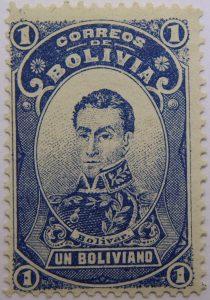 correos de bolivia 1 un boliviano bolivar stamp