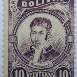 correos de bolivia 10 centavos dark violet monteagudo stamp