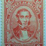 correos de bolivia 2 centavos brick red linares stamp