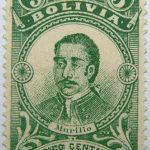 correos de bolivia 5 centavos green murillo stamp