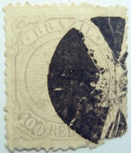 emperor dom pedro ii brazil 100 reis lilac 1885 old stamp