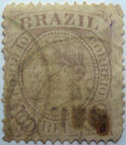 emperor dom pedro ii brazil correio 100 reis lilac 1884 old stamp