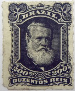 emperor dom pedro ii performaton rouletted brazil 200 duzentos reis black 1878 old stamp