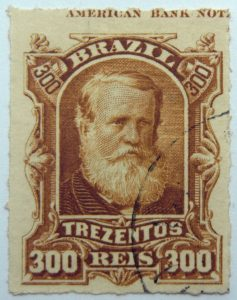 emperor dom pedro ii performaton rouletted brazil 300 trezentos reis bister 1878 old used stamp