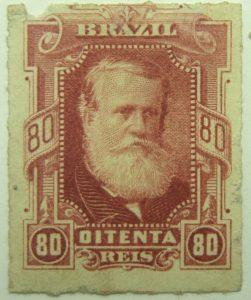 emperor dom pedro ii performaton rouletted brazil 80r oitenta reis lake 1878 old stamp